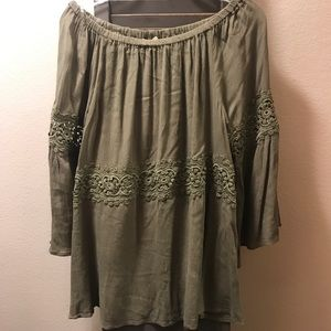 Olive Off the Shoulder Top with Lace